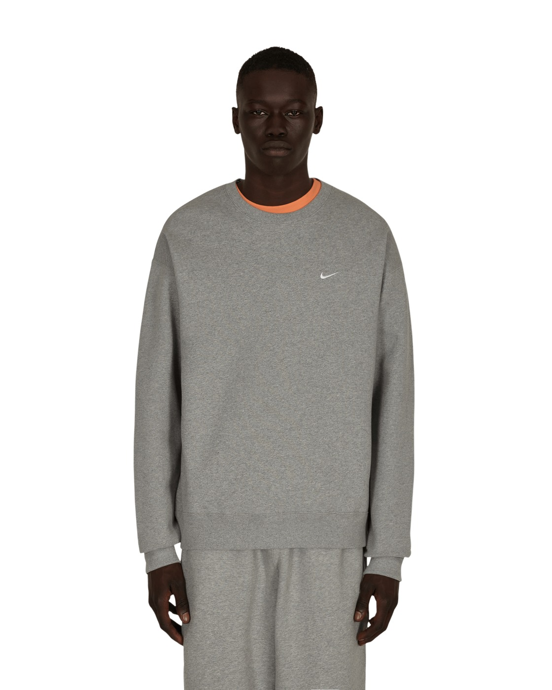 Photo: Nike Special Project Solo Swoosh Crewneck Sweatshirt Dk Grey Heather/White