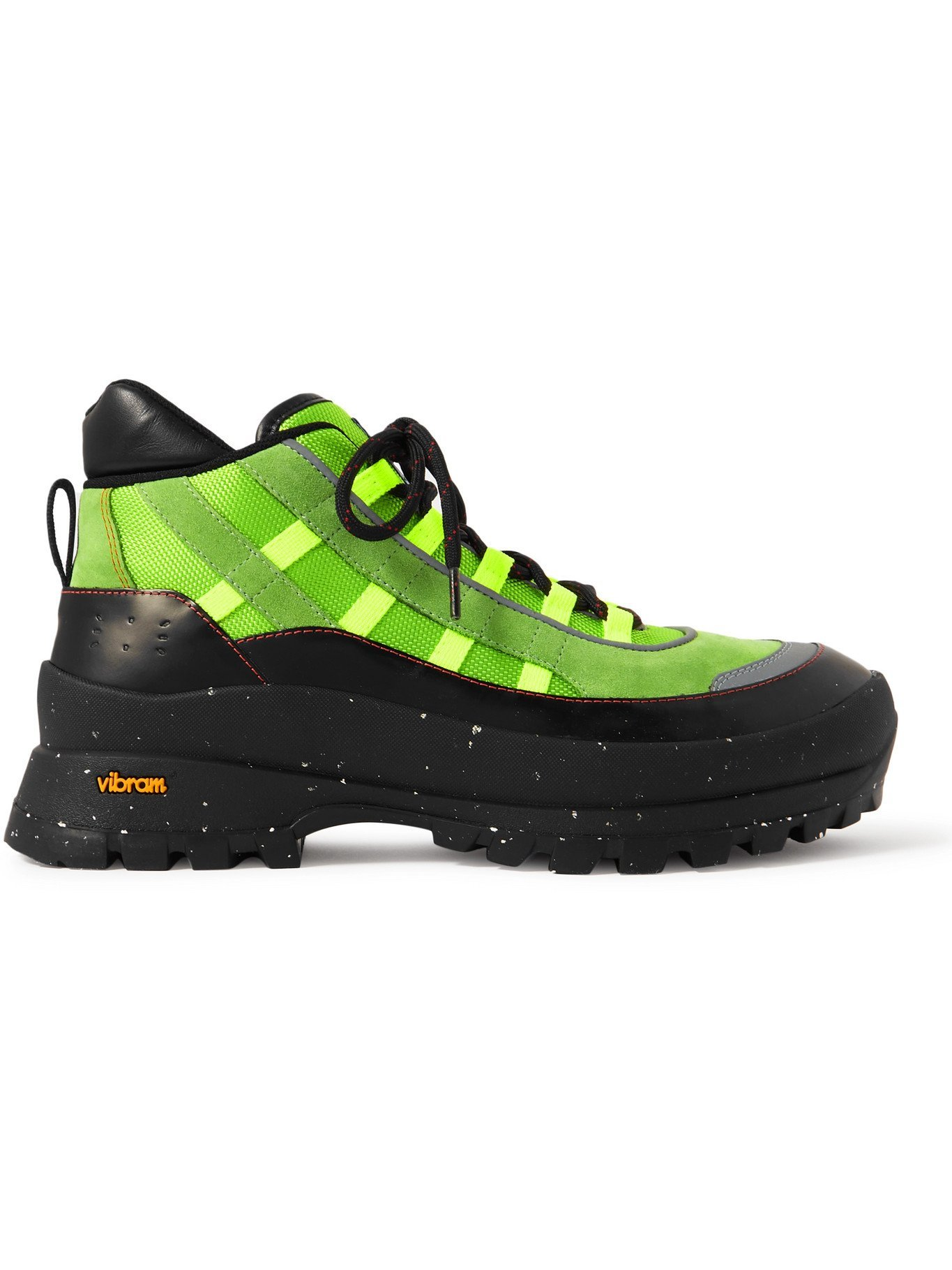 Photo: MCQ - FA-5 Leather and Webbing-Trimmed Suede and Mesh Hiking Boots - Green - EU 39