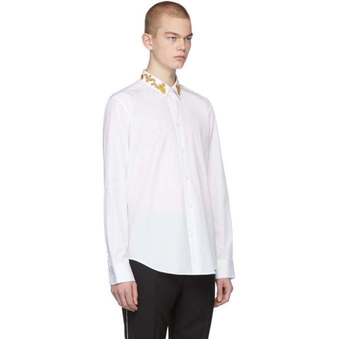 Versace White Barocco Collar Shirt