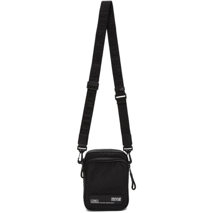 Photo: Versace Jeans Couture Black Chevron Logo Messenger Bag