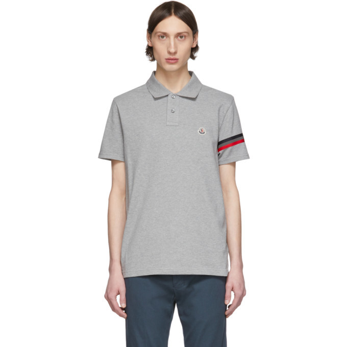 Photo: Moncler Grey Striped Sleeve Polo
