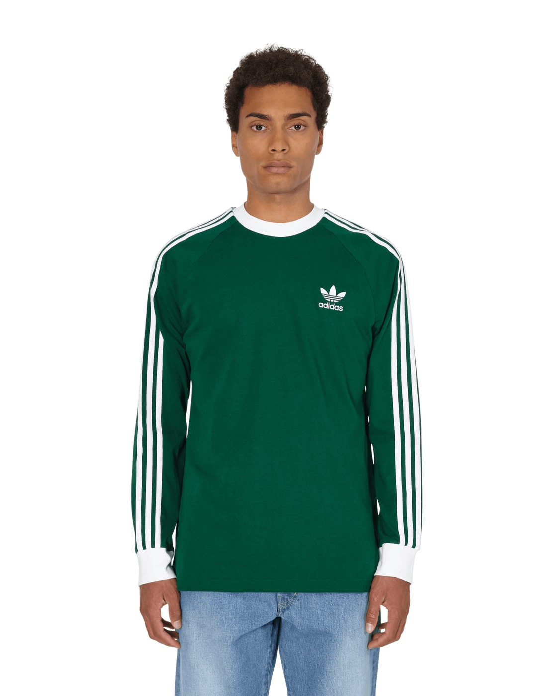Photo: Adidas Originals 3 Stripes Longsleeve T Shirt Dark Green