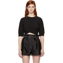 3.1 Phillip Lim Black Twisted Cropped T-Shirt