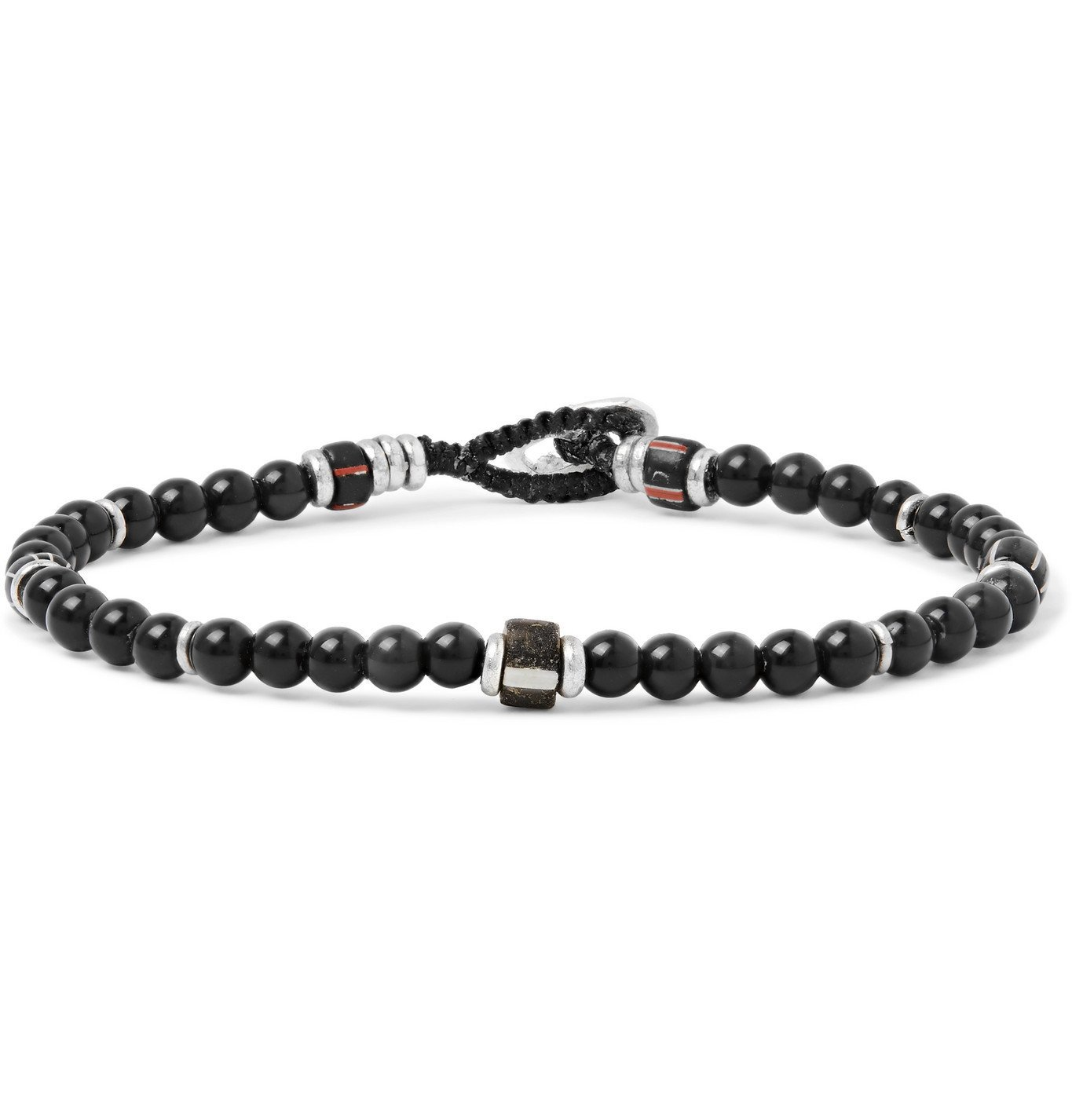 Photo: Mikia - Rainbow Obsidian, Silver-Plated and Glass Beaded Bracelet - Black