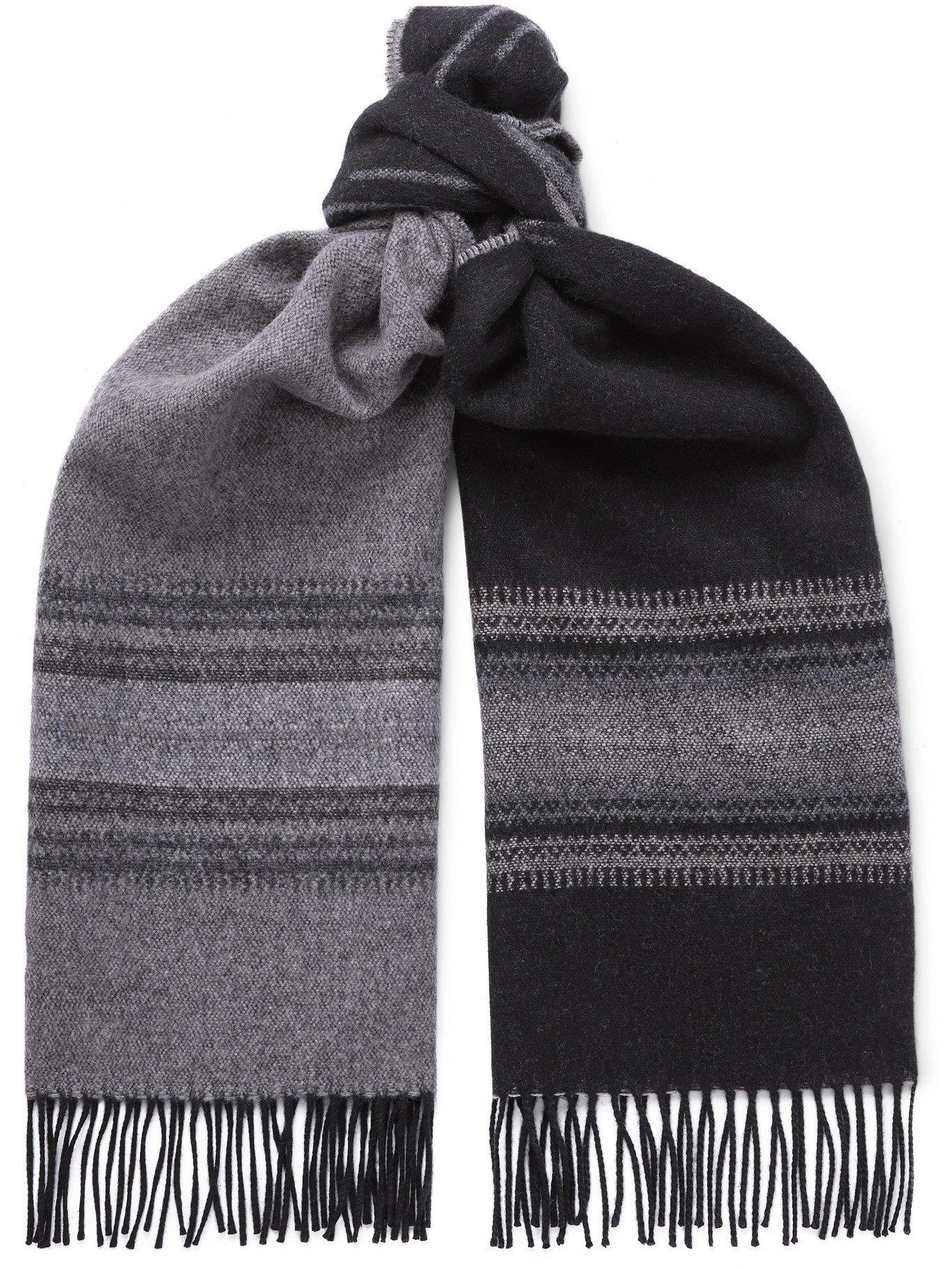 Photo: RRL - Weston Fringed Intarsia Wool and Cashmere-Blend Scarf - Black