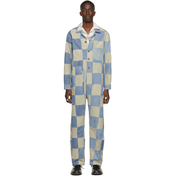 Photo: Bode Blue and White Denim Patchwork Jumpsuit