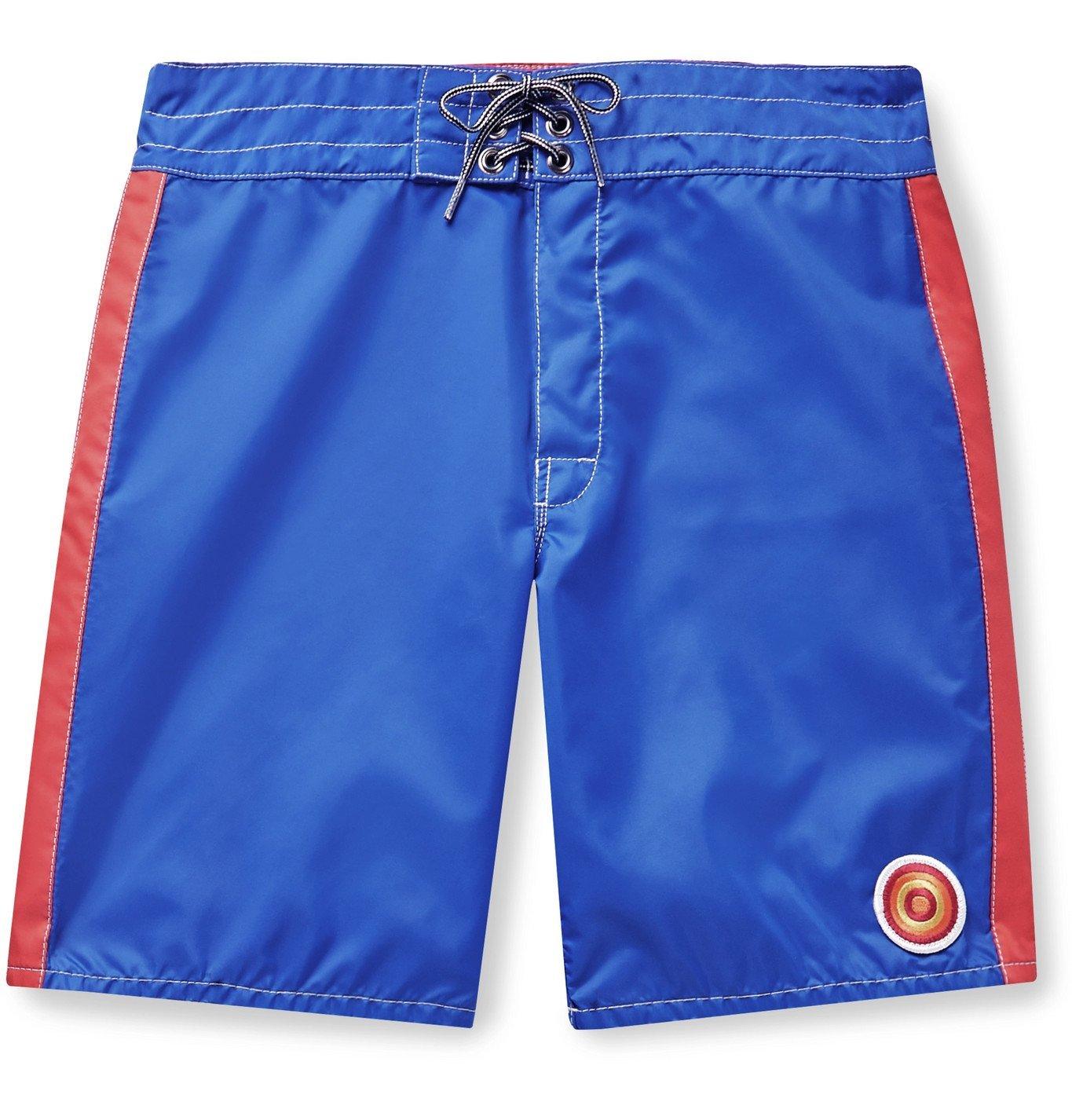 Photo: Birdwell - Mid-Length Striped Swim Shorts - Blue
