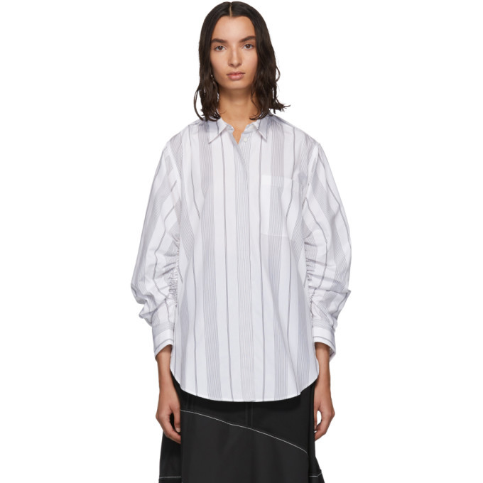 3.1 Phillip Lim Black and White Gathered Sleeve Shirt