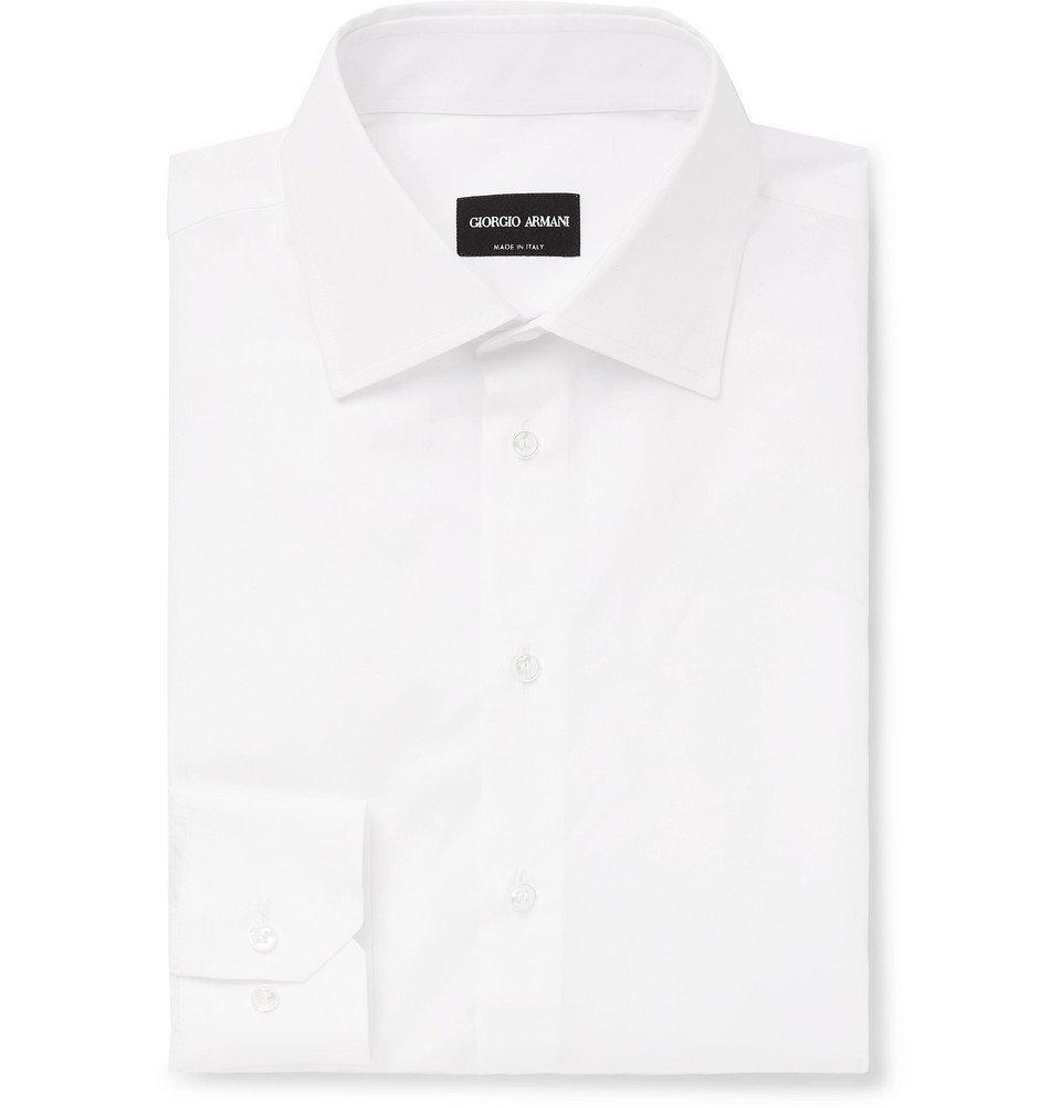 Giorgio Armani - White Slim-Fit Cotton-Poplin Shirt - White