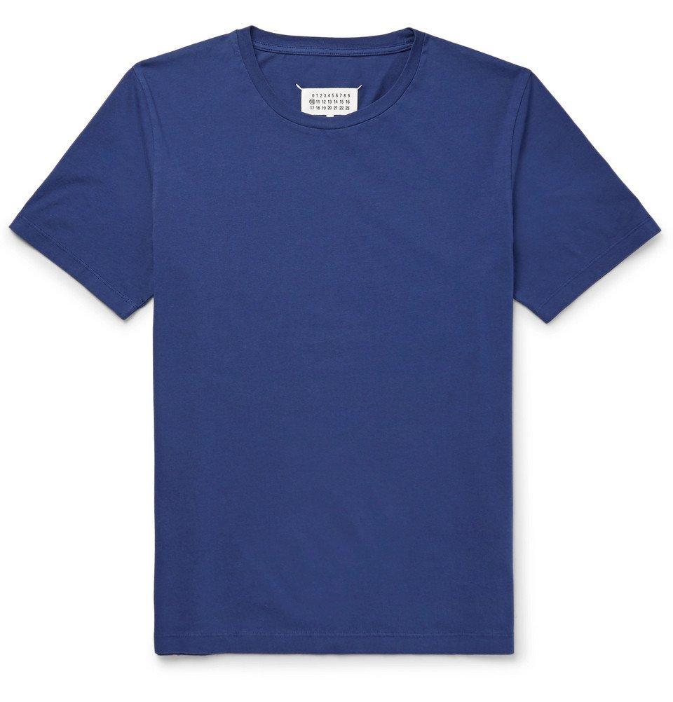 Photo: Maison Margiela - Garment-Dyed Cotton-Jersey T-Shirt - Blue