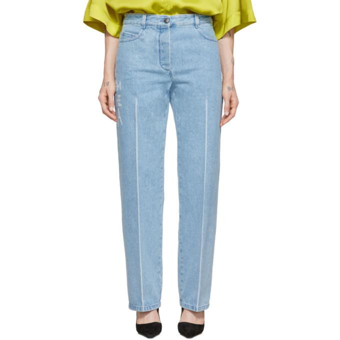 Nina Ricci Blue Distressed Text Jeans