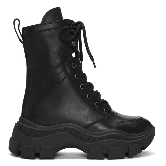 Prada Black Leather Mid-Calf Boots Prada