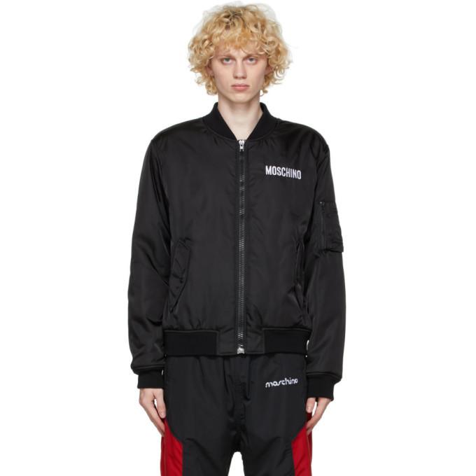 Photo: Moschino Black Micro Teddy Bear Bomber Jacket