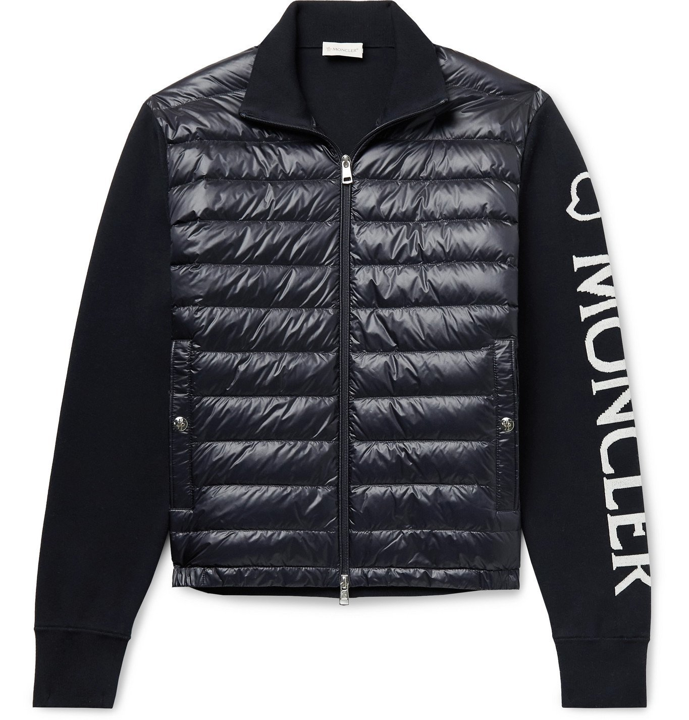 Photo: MONCLER - Quilted Nylon and Intarsia Cotton-Blend Down Jacket - Blue