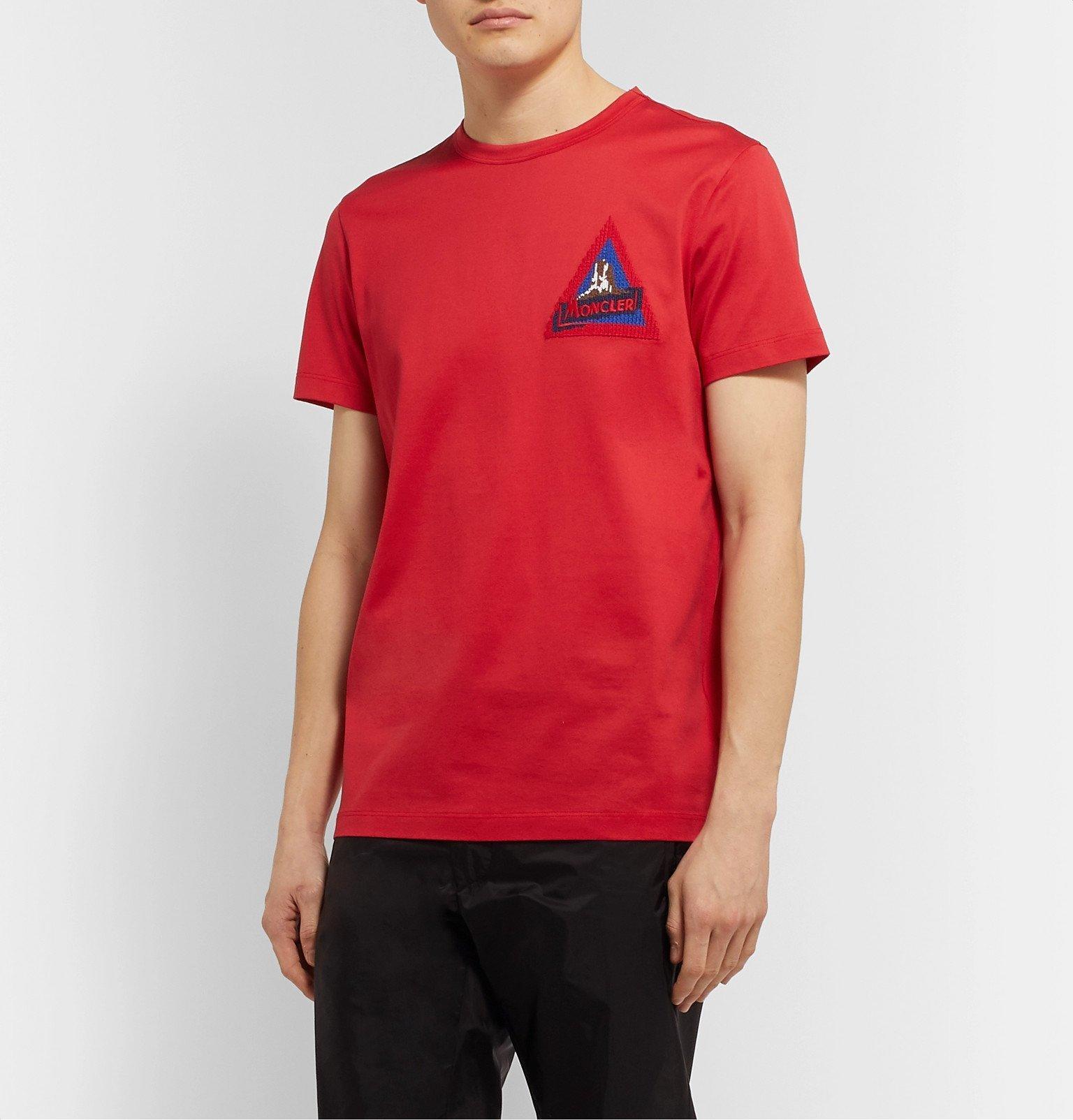 Moncler - Logo-Appliquéd Cotton-Jersey T-Shirt - Red