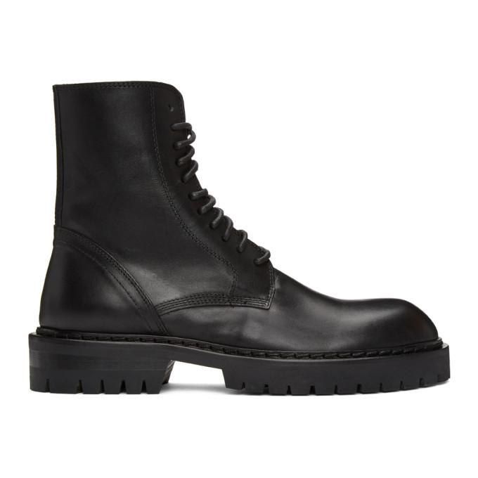 Photo: Ann Demeulemeester Black Lace-Up Combat Boots