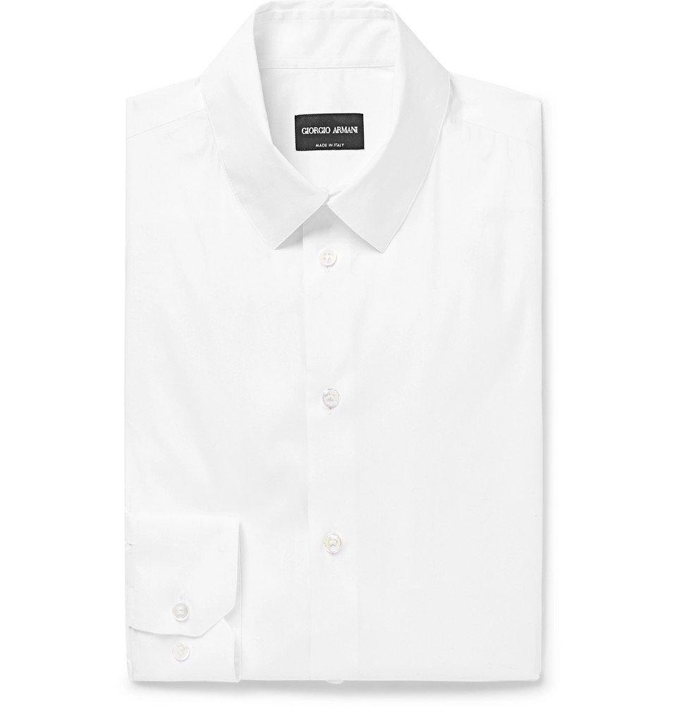Giorgio Armani - White Slim-Fit Stretch Cotton-Blend Shirt - White