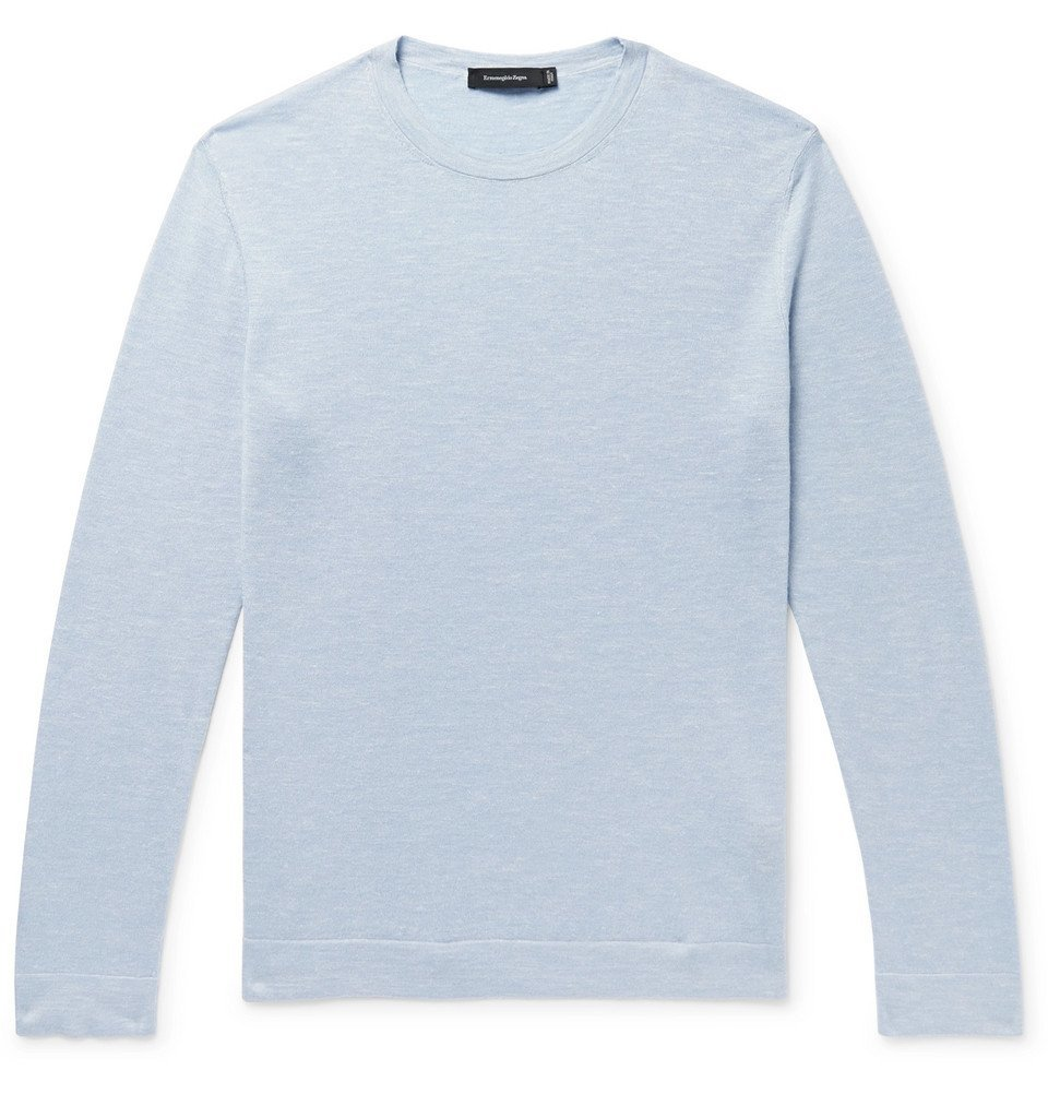 Photo: Ermenegildo Zegna - Slub Cashmere, Silk and Linen-Blend Sweater - Light blue