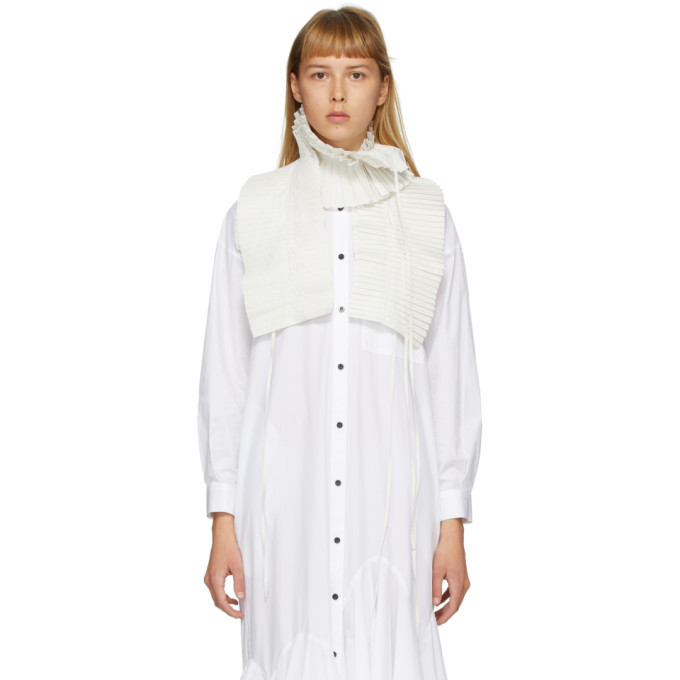 Photo: Enfold Off-White Chambray Taffeta Pleated Scarf