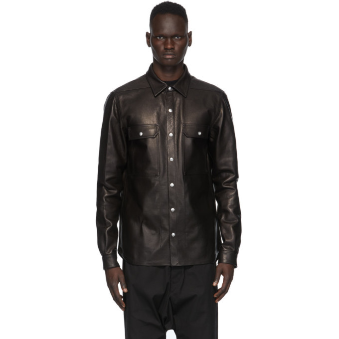 Photo: Rick Owens Black Leather Outer Shirt Jacket
