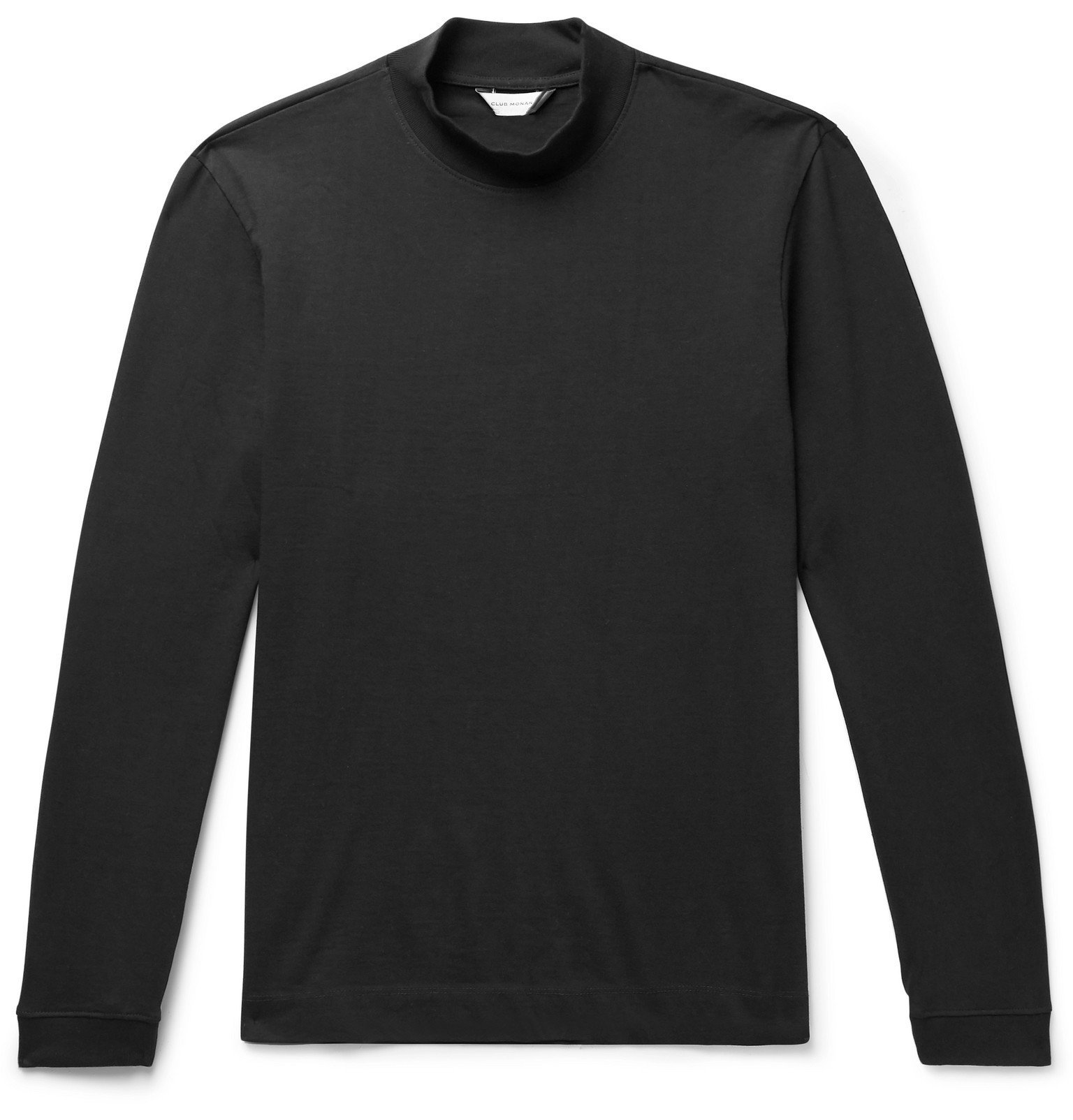 Photo: Club Monaco - Cotton-Jersey Mock Neck T-Shirt - Black