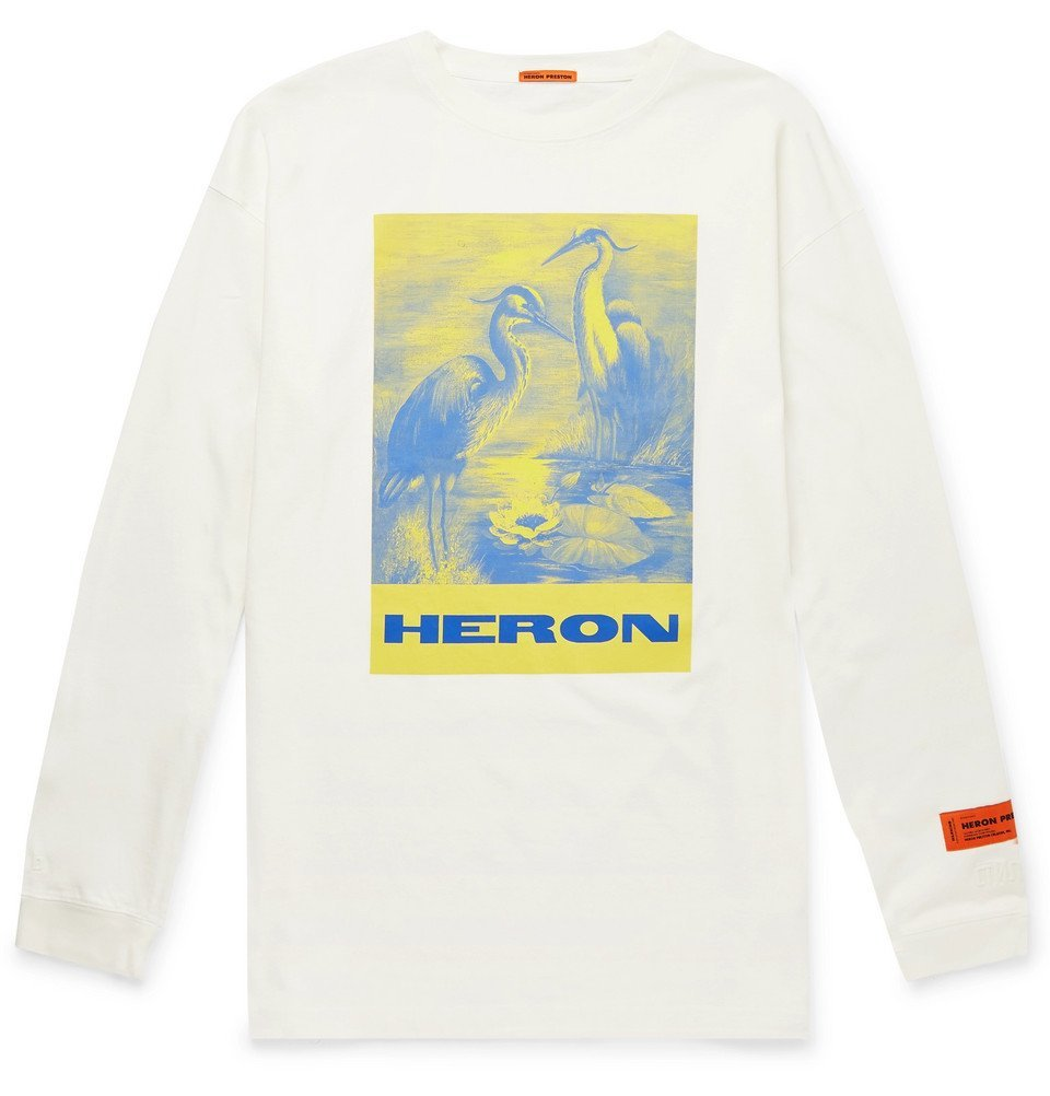 Photo: Heron Preston - Oversized Printed Cotton-Jersey T-Shirt - White
