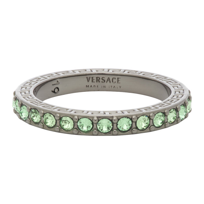 Photo: Versace Silver and Green Embedded Band Ring