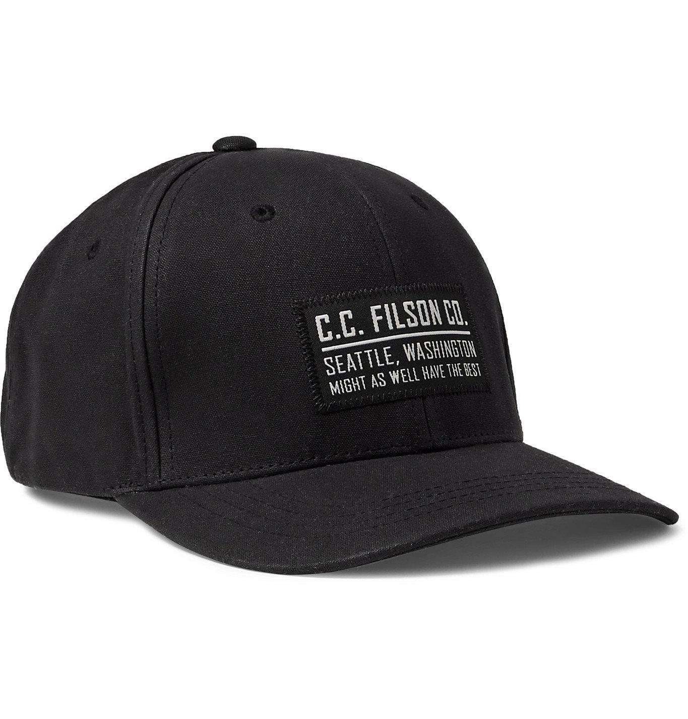 Filson - Logger Appliquéd Waxed-Cotton Baseball Cap - Black