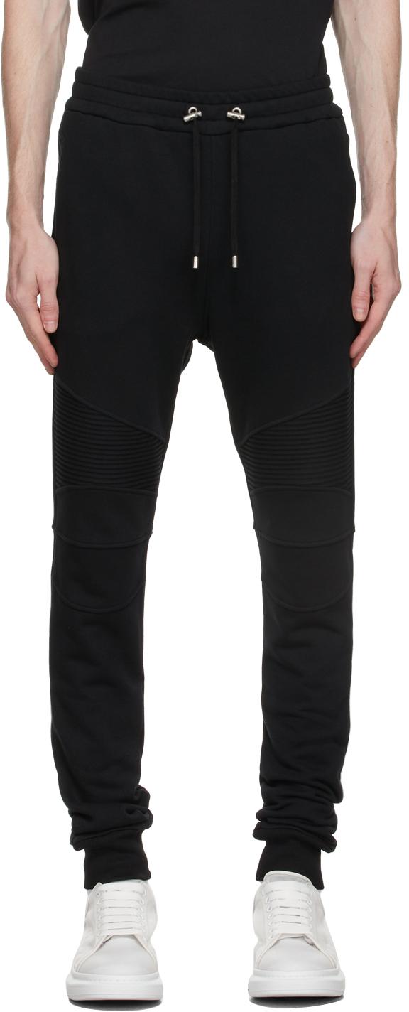 Photo: Balmain Black Flocked Logo Lounge Pants
