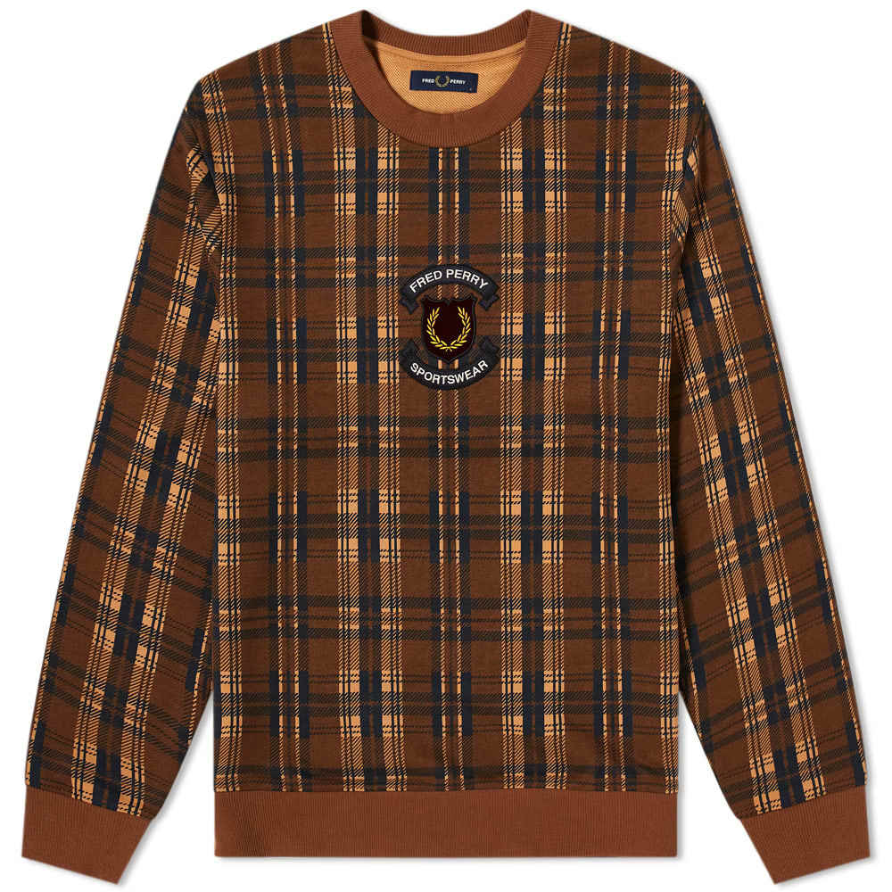 Photo: Fred Perry Authentic Embroidered Shield Check Sweat