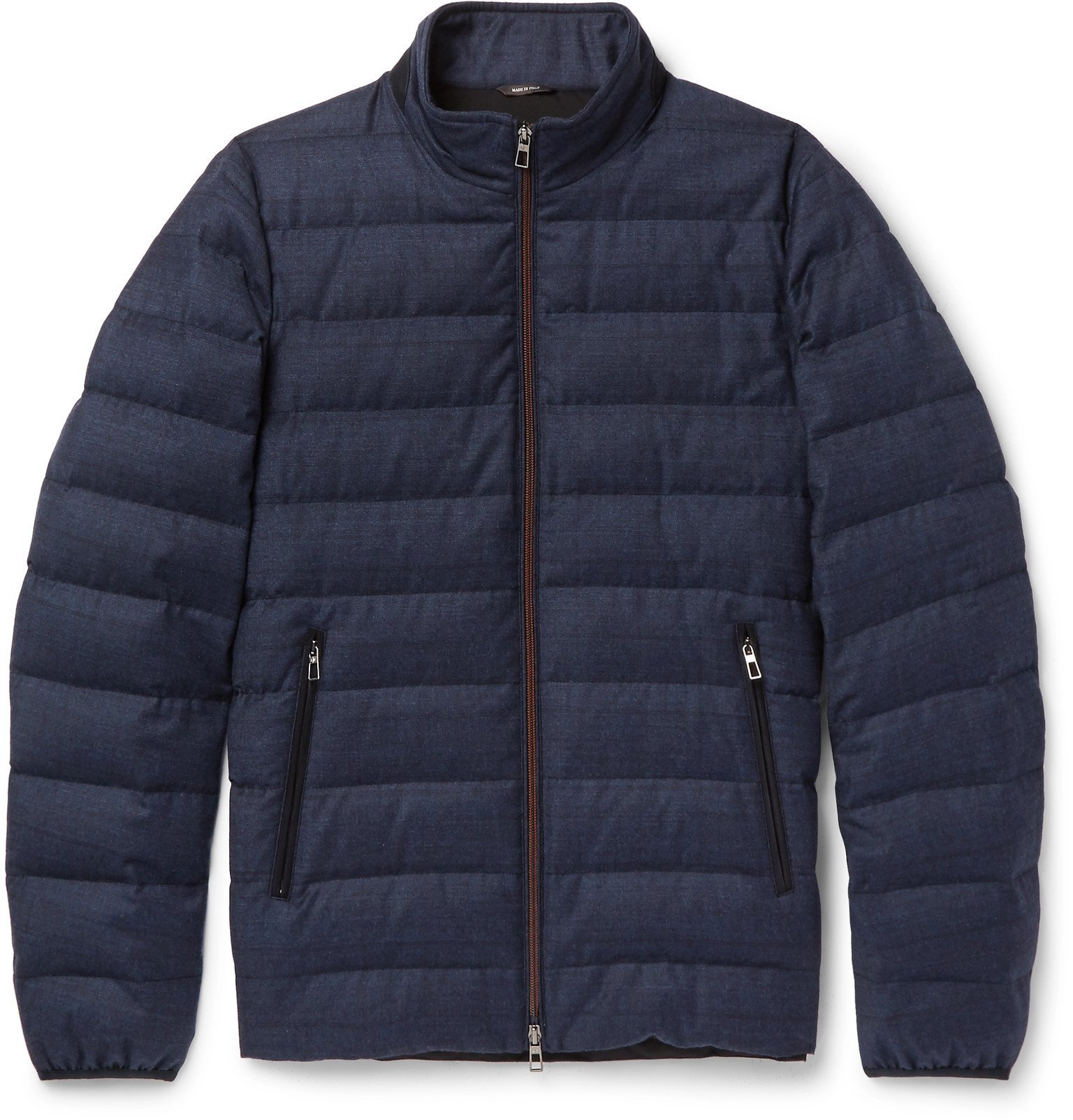 Photo: Loro Piana - Gateway Quilted Rain System Wool and Silk-Blend Down Jacket - Blue