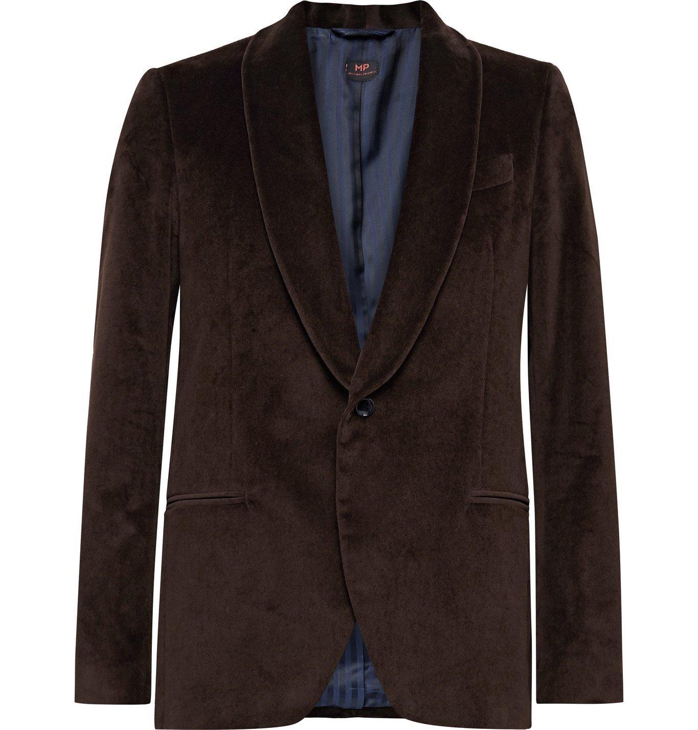 Photo: MP Massimo Piombo - Hugo Shawl-Collar Cotton-Velvet Tuxedo Jacket - Brown