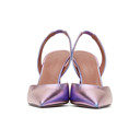 Amina Muaddi Purple Iridescent Holli Sling Heels