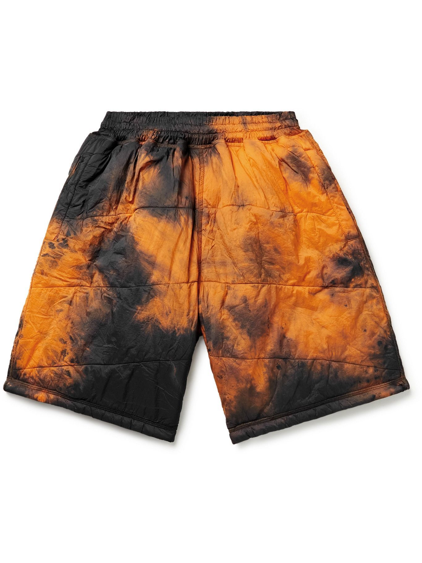 Photo: Aries - Quilted Padded Tie-Dyed Shell Shorts - Orange