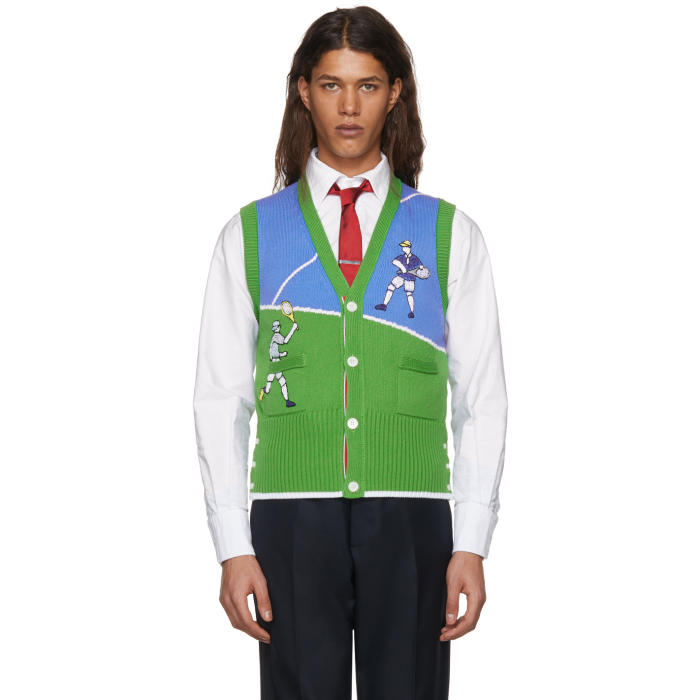 Photo: Thom Browne Green and Blue Tennis Player Classic V-Neck Vest
