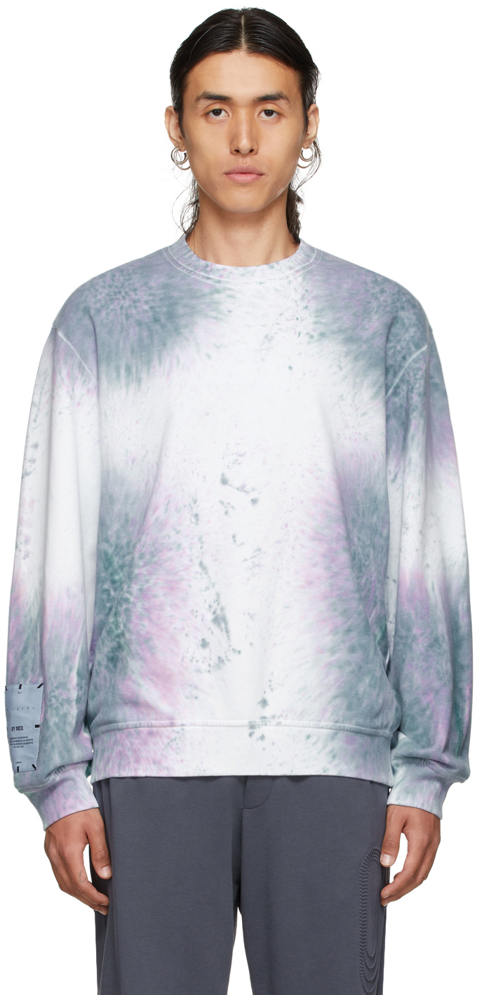 Photo: MCQ White & Purple Tie-Dye Relaxed Sweatshirt
