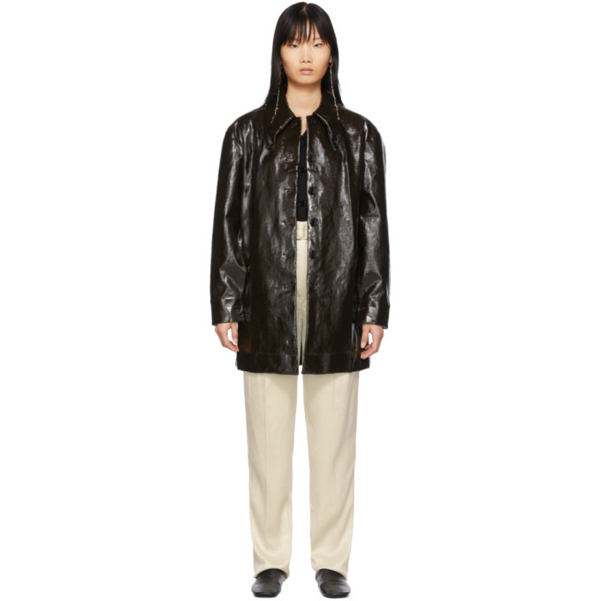 Photo: Lemaire Brown Maxi Shirt Coat