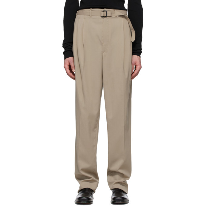 Photo: Lemaire Beige Belted Pleat Trousers