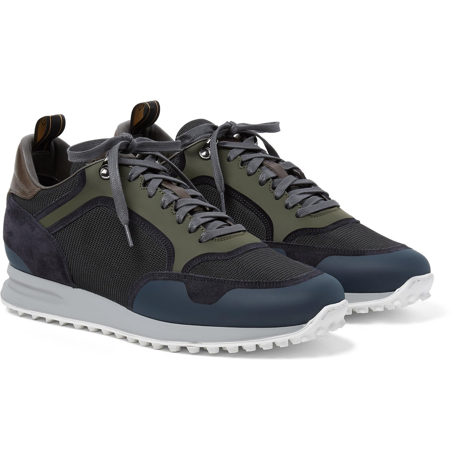 Dunhill - Radial Runner Leather and Suede-Trimmed Mesh Sneakers - Blue