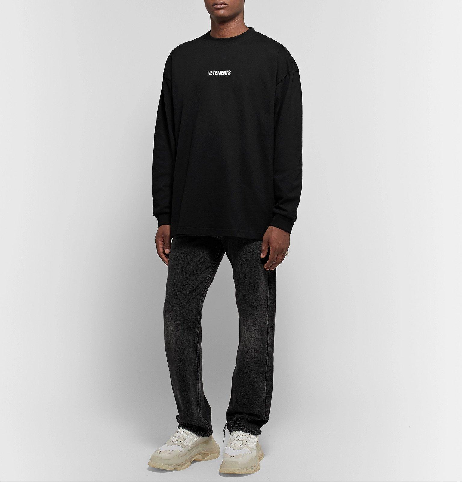 Vetements - Oversized Logo-Print Cotton-Jersey T-Shirt - Black