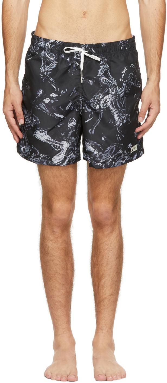 Photo: Bather Black Bouquet Marble Swim Shorts