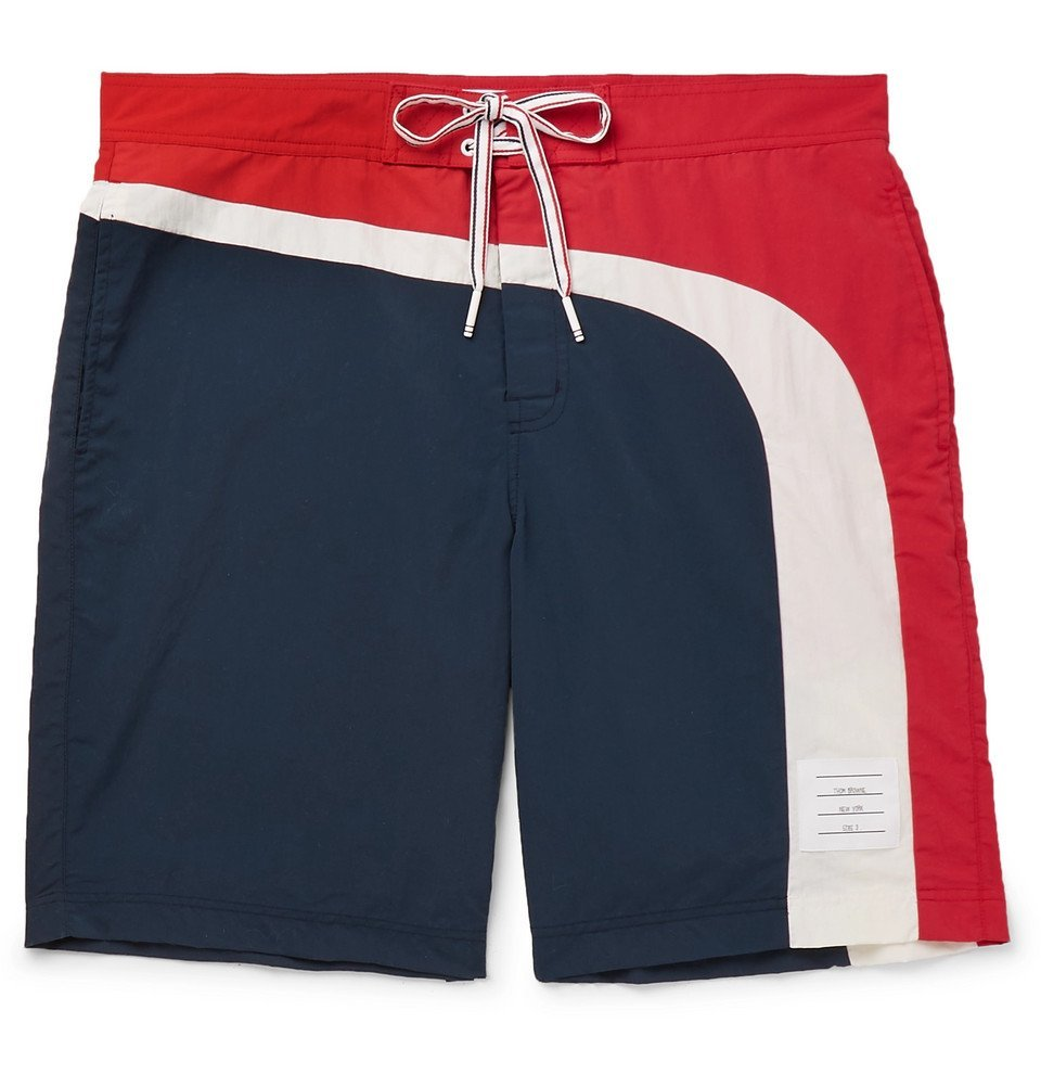 Photo: Thom Browne - Long-Length Striped Swim Shorts - Navy