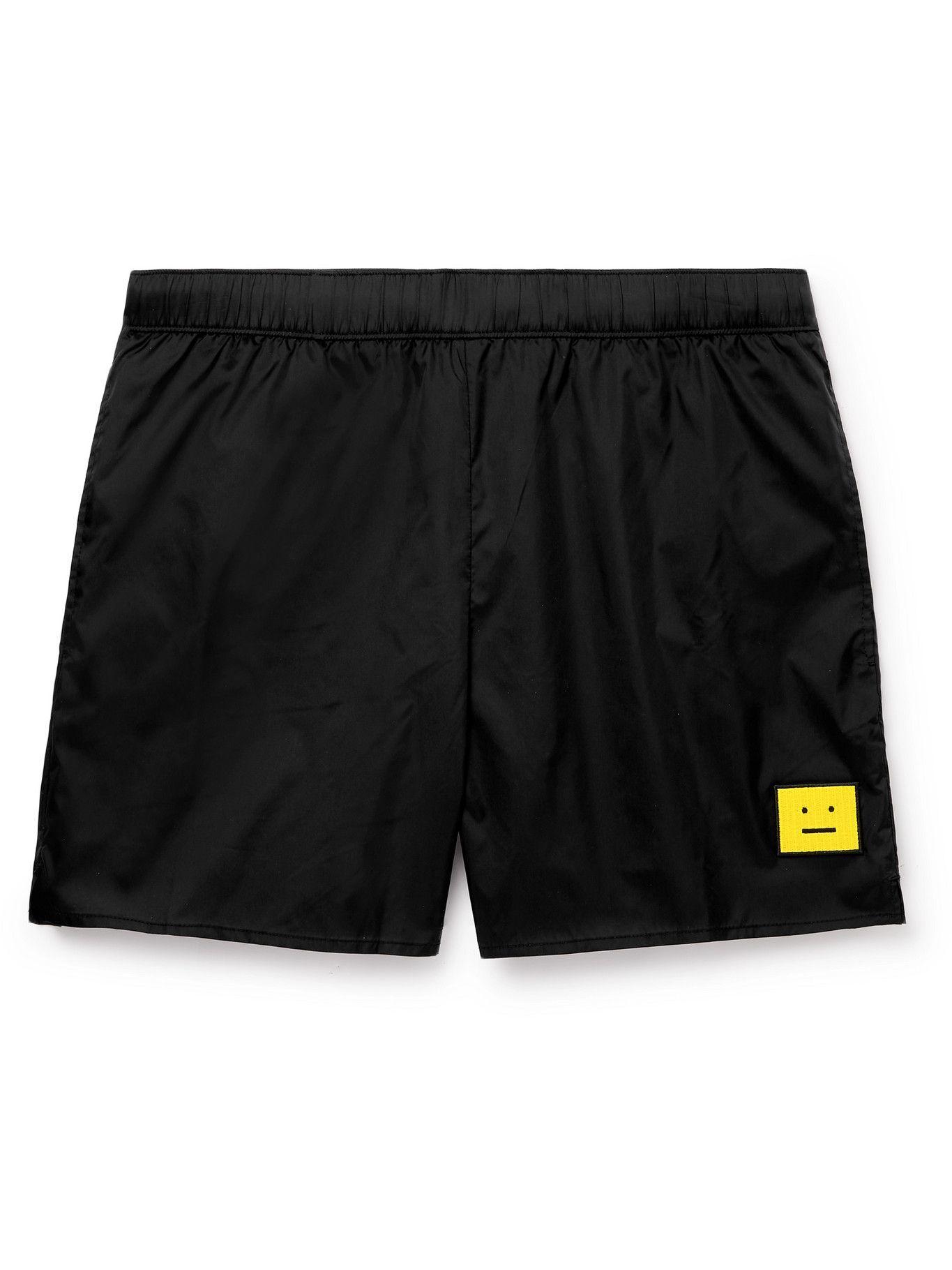 Photo: ACNE STUDIOS - Slim-Fit Mid-Length Logo-Appliquéd Swim Shorts - Black