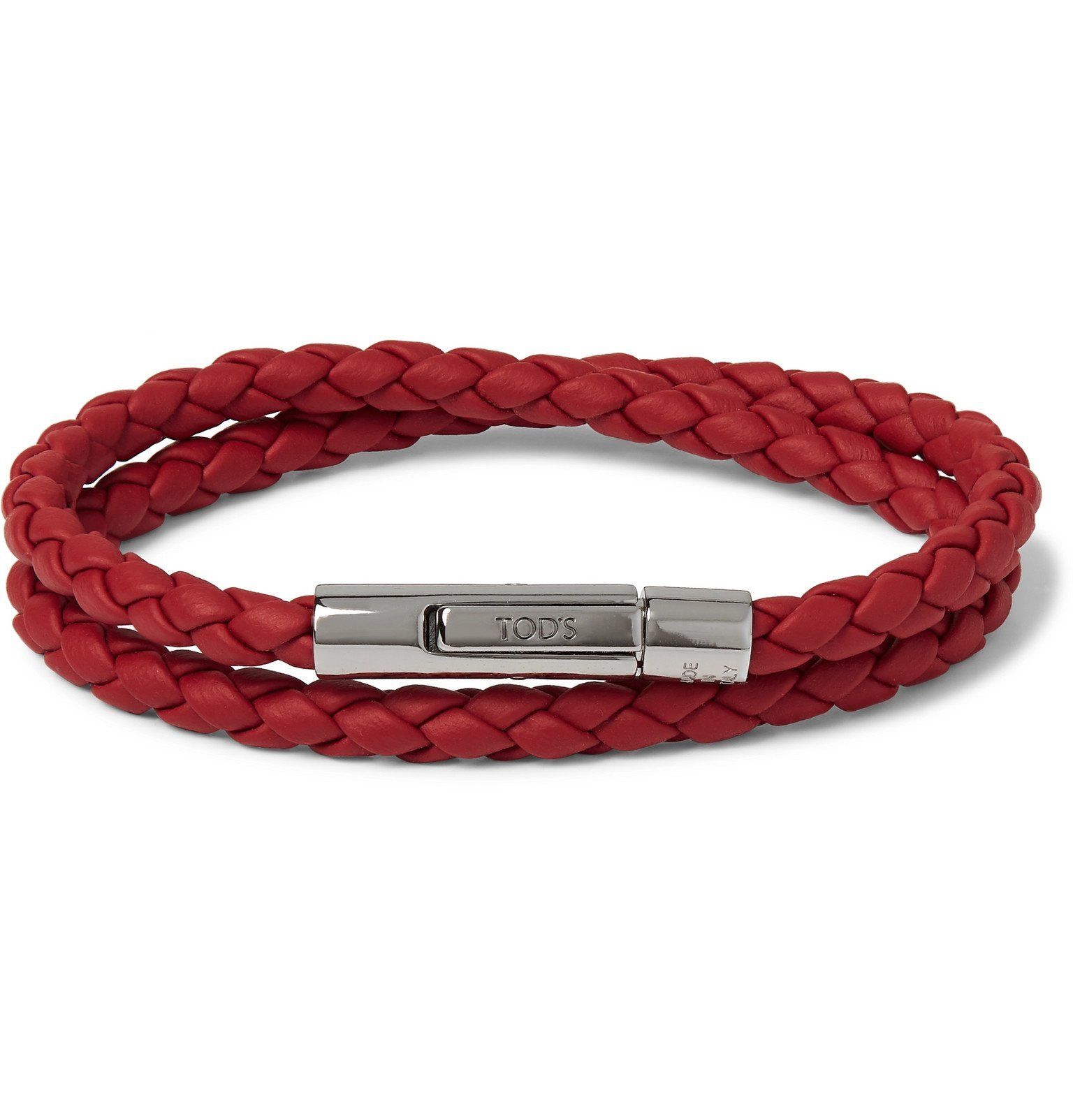 Photo: Tod's - Woven Leather and Silver-Tone Bracelet - Red