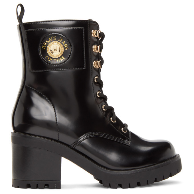 Versace Jeans Couture Black Patent Faux-Leather Institutional Logo Boots