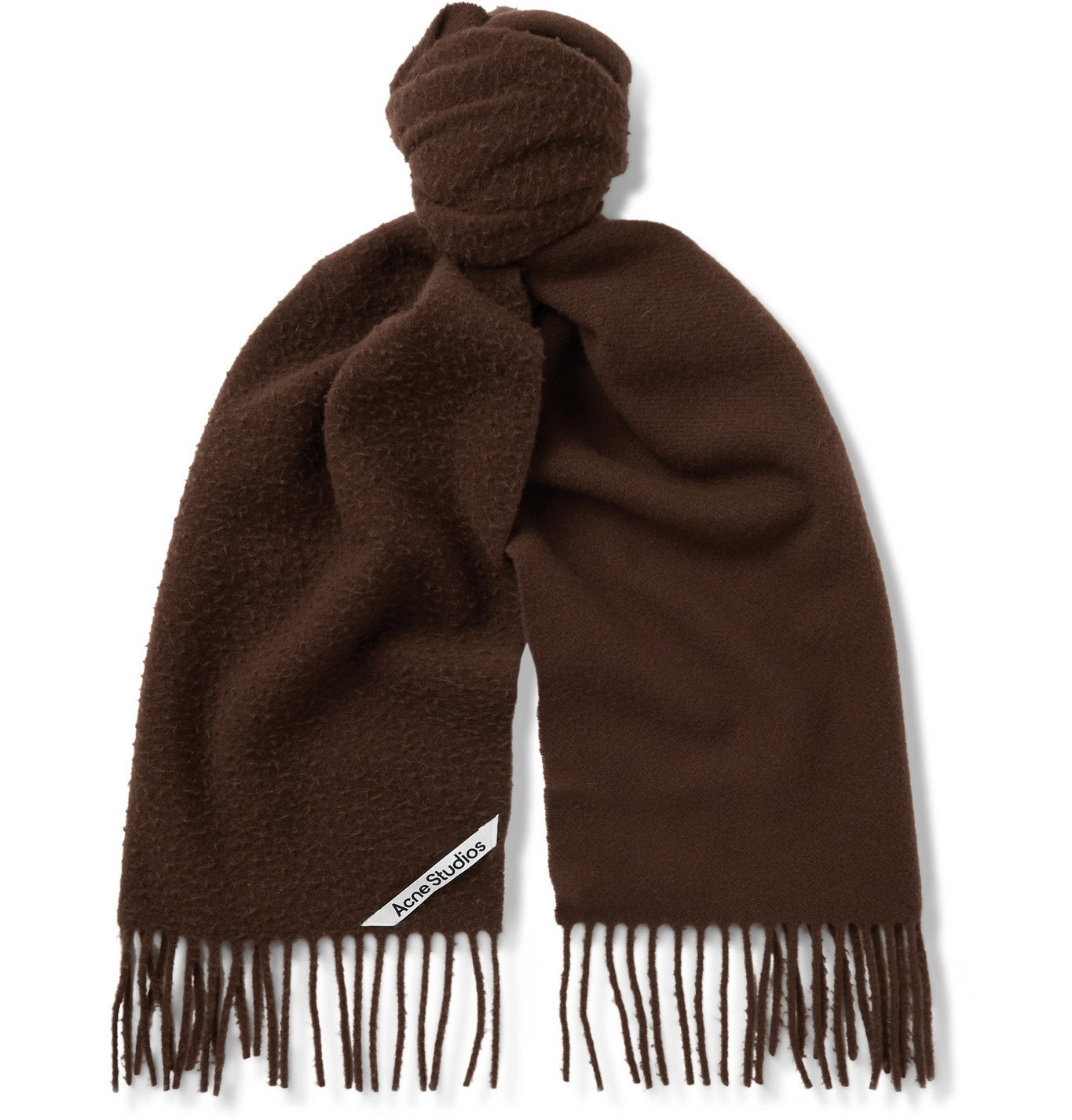 Photo: ACNE STUDIOS - Fringed Brushed-Wool Scarf - Brown