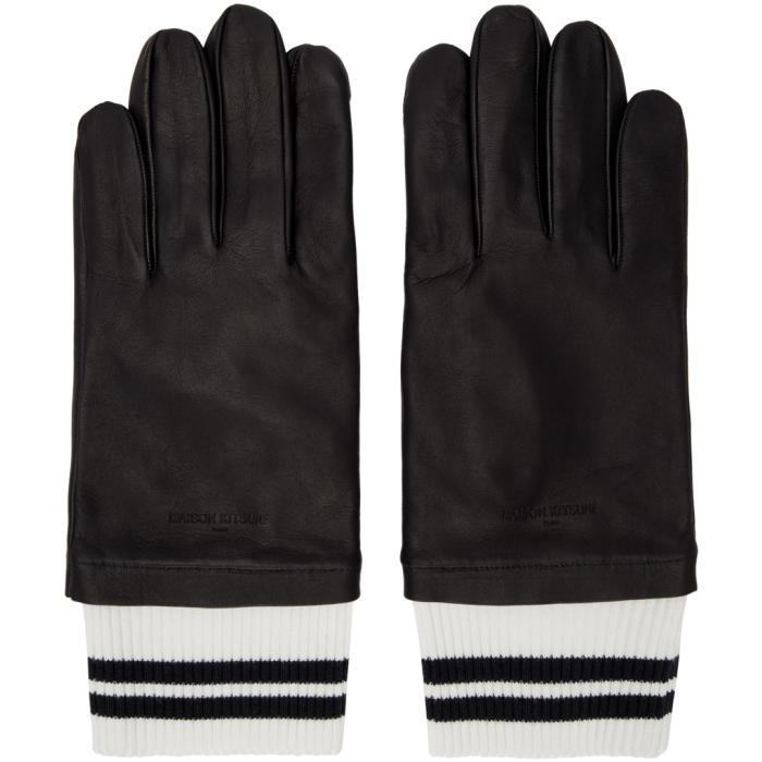 Photo: Maison Kitsuné Black Leather Ribbed Gloves