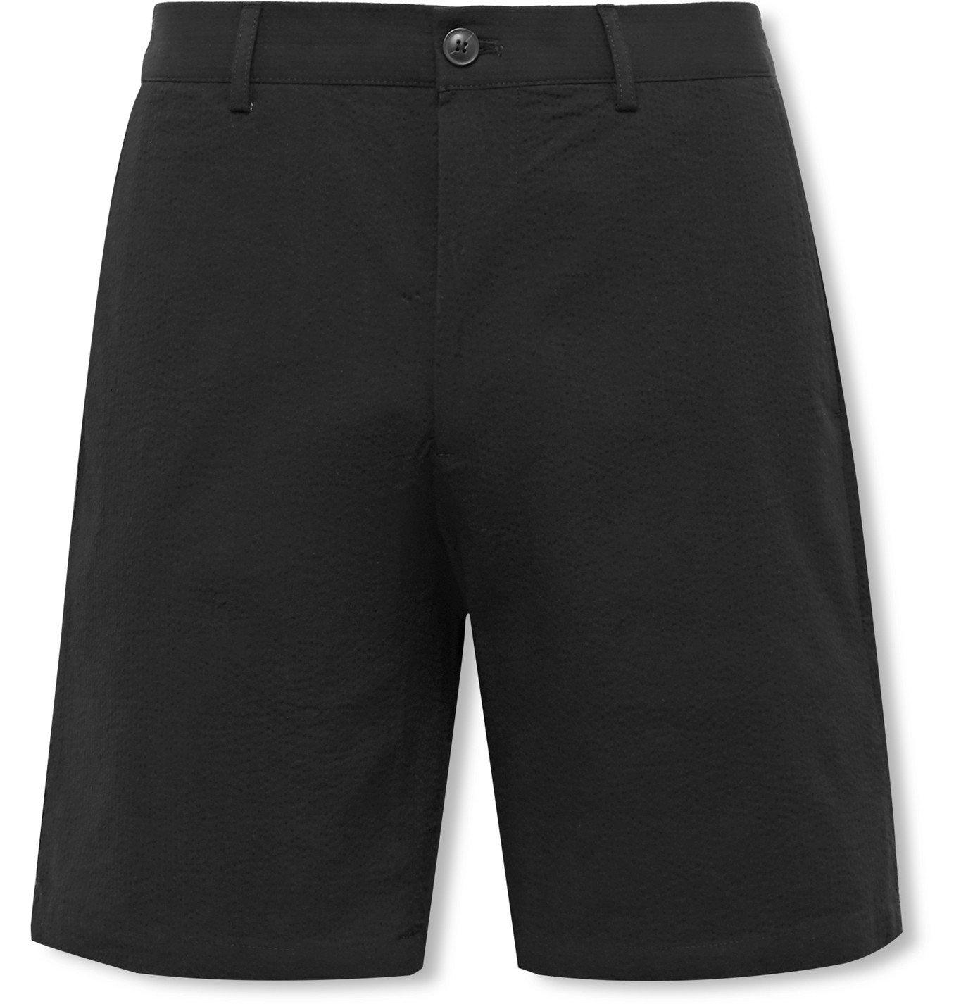 Photo: Club Monaco - Maddox Cotton-Seersucker Shorts - Black