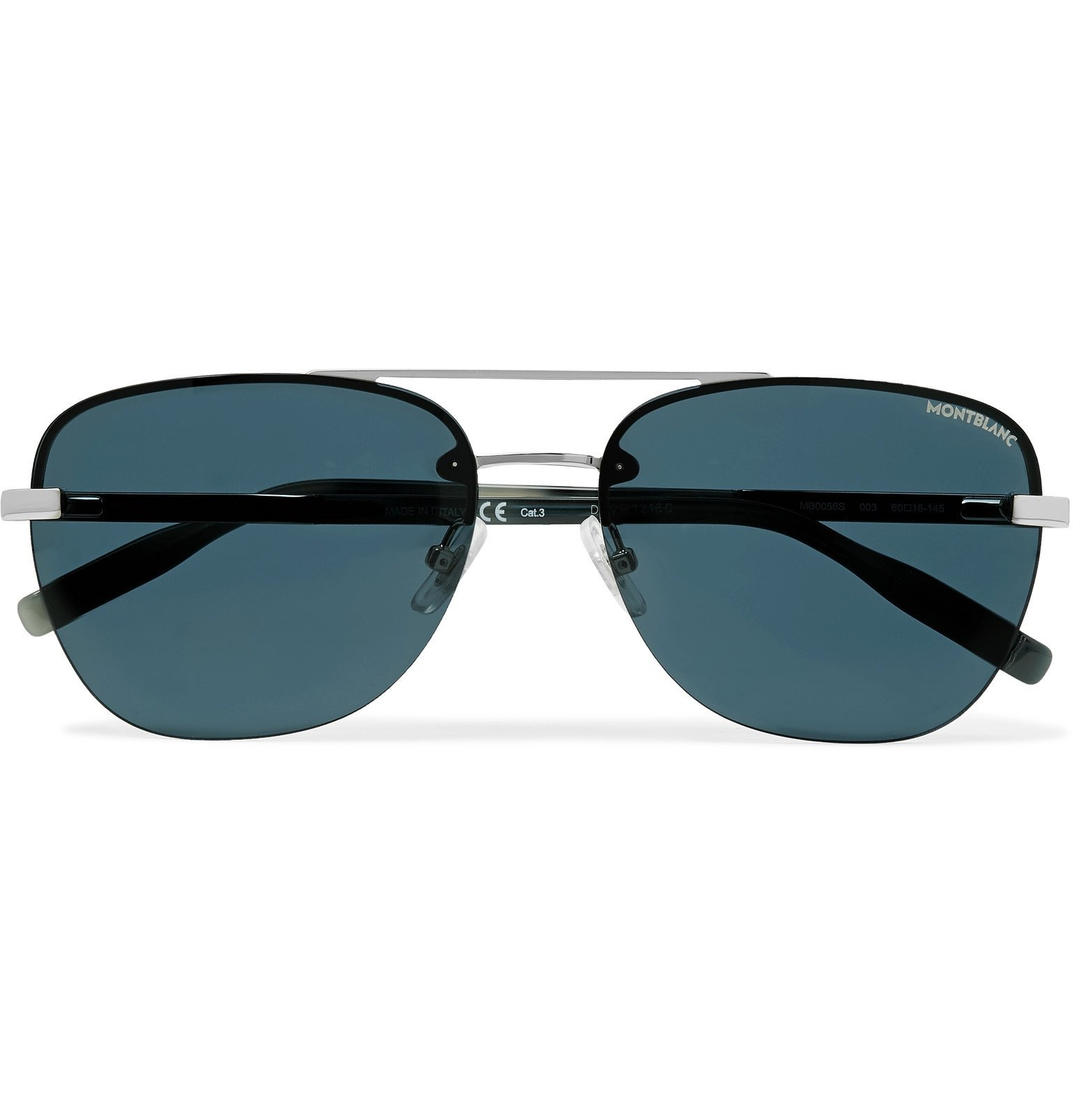 Photo: Montblanc - Aviator-Style Metal Sunglasses - Blue