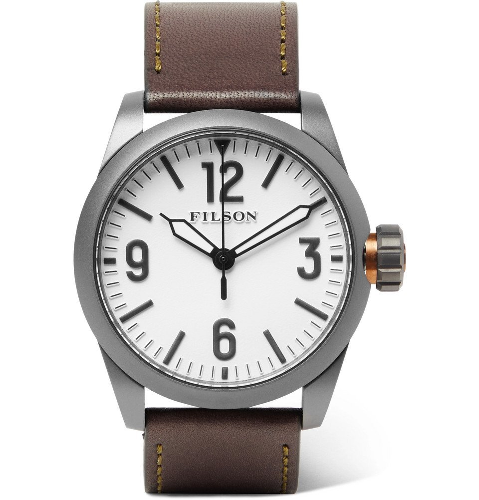 Filson - Field Stainless Steel and Leather Watch - White